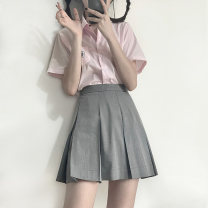 skirt Spring 2021 XS,S,M,L,XL,2XL Short skirt Sweet High waist Pleated skirt Solid color Type A 18-24 years old 51% (inclusive) - 70% (inclusive) other Other / other polyester fiber college
