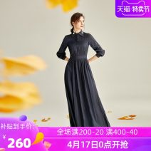 Dress Winter of 2019 High flash blue S M L XL 2XL 3XL Collection Plus shopping cart order and gift longuette singleton  Long sleeves commute Polo collar middle-waisted Solid color zipper Big swing bishop sleeve Others 40-49 years old Type X Ba Zhicai Ol style Q245 More than 95% polyester fiber
