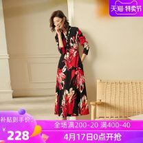 Dress Winter of 2019 Milk white grey big flower red white flower S ml XL 2XL 3XL belt is not free, if you like, you can contact customer service for replacement longuette singleton  Long sleeves commute V-neck middle-waisted Big flower zipper Big swing routine Others 35-39 years old Type X Ba Zhicai