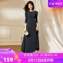 Dress Winter of 2019 Blue silk - long sleeve S M L XL 2XL 3XL collection add to shopping cart order gift longuette singleton  Long sleeves commute Crew neck High waist Solid color Socket Big swing routine Others 40-49 years old Type X Ba Zhicai Ol style Asymmetric tie dyeing of Auricularia auricula