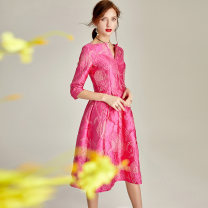 Dress Autumn of 2019 Rose red jacquard [in stock] S M L XL 2XL 3XL Collection Plus shopping cart order and gift Mid length dress singleton  three quarter sleeve commute V-neck middle-waisted Decor zipper Big swing routine Others 35-39 years old Type X Ba Zhicai Retro Bright silk stitching wave zipper