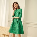 Dress Autumn of 2019 green S M L XL 2XL 3XL Collection Plus shopping cart order and gift Mid length dress singleton  three quarter sleeve commute V-neck middle-waisted Solid color zipper Big swing routine Others 40-49 years old Type X Ba Zhicai Ol style HT1210 More than 95% other polyester fiber