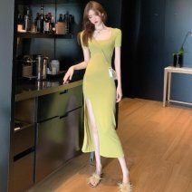 Dress Black, yellowish green female Other / other Average size Other 100% Solid color A-line skirt 14 years old