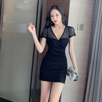 Dress Winter 2020 Qqxgnz728 Short Sleeve Black S M L XL Short skirt singleton  Long sleeves commute V-neck High waist Solid color Socket One pace skirt routine Others 25-29 years old Xin Yuxuan Korean version Splicing QQXGNZ715# More than 95% brocade polyester fiber Other polyester 95% 5%