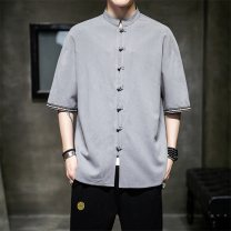 shirt Youth fashion Others M. L, XL, 2XL, 3XL, 4XL, 5XL Gray, black, red, blue routine stand collar Short sleeve easy Other leisure summer JR-A1256DF Large size Other 100% Chinese style 2021 Solid color Linen washing Button decoration