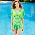 one piece  Zoke / zhouke M L XL XXL XXXL Red and yellow flowers_ 1 green and blue flower Skirt one piece Steel strap breast pad Zhouke 116601516 Spring of 2019 yes female Sleeveless Casual swimsuit