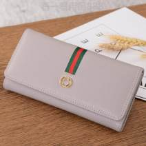 wallet Long Wallet PU Other / other brand new Europe and America female Buckles Solid color 80% off Horizontal style youth Clemence  polyester fiber soft surface