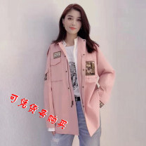 Windbreaker Autumn 2020 2 / s, 3 / m, 4 / L, 5 / XL Pink, khaki, black Long sleeves routine Medium length commute zipper Polo collar routine Solid color Straight cylinder Korean version O'amash banner 5400370-42050AA-001 96% and above cotton cotton