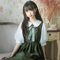 Dress Summer 2020 Forest green, if grass color, gray blue, replenishment at the end of April S. M, l, XL, one size up, two sizes up Mid length dress singleton  Short sleeve Sweet Doll Collar middle-waisted Solid color zipper Lantern skirt puff sleeve Others 18-24 years old Type H Chiffon Lolita