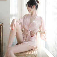 Pajamas / housewear set female Other / other Average size Black, complexion nylon Nine point sleeve sexy pajamas summer Thin money Solid color Tether youth Chiffon One piece