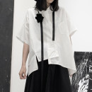 shirt Black, white S,M,L,XL Summer of 2019 polyester fiber 96% and above Short sleeve Original design Regular square neck Single row multi button routine Solid color 18-24 years old Straight cylinder Other / other