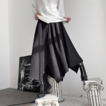 skirt Summer of 2019 S,M,L black Middle-skirt Versatile Natural waist A-line skirt Solid color Type A 18-24 years old More than 95% Other / other polyester fiber