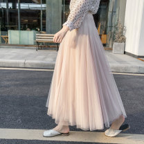 skirt Spring of 2019 One size fits all XL 80cm 75cm xl80 xl75 Black white champagne apricot grey Mid length dress Versatile High waist Fairy Dress Solid color Type A 18-24 years old FFT1901 91% (inclusive) - 95% (inclusive) other Fafti polyester fiber Pleated gauze Other polyester 95% 5%