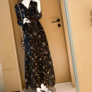 Dress Autumn 2020 black S M L XL longuette singleton  Long sleeves commute V-neck Elastic waist Decor Socket Ruffle Skirt pagoda sleeve Others 25-29 years old Type X Showgrid Korean version printing sg61027 More than 95% Chiffon other Other 100% Pure e-commerce (online only)