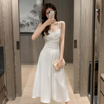 Dress Summer 2021 White black S M L XL longuette singleton  Sleeveless commute V-neck High waist Solid color Socket A-line skirt routine camisole 25-29 years old Type A Showgrid Korean version backless DY-GTO-5L-528-A-8928 More than 95% other other Other 100% Pure e-commerce (online only)
