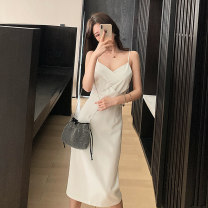 Dress Summer 2021 white S M L longuette singleton  Sleeveless commute V-neck High waist Solid color Socket A-line skirt routine camisole 25-29 years old Type A Showgrid backless More than 95% other Other 100% Pure e-commerce (online only)