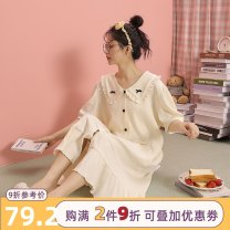 Nightdress Tianmicat / sweet cat B40338 B40337 B40343 G1412-C G1410 G1411 G1406 M L XL Simplicity Short sleeve Leisure home longuette summer Solid color youth Small lapel cotton printing More than 95% pure cotton B40338 Summer 2021 Cotton 100% Pure e-commerce (online only)