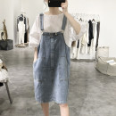 Dress Summer 2020 blue Average size Middle-skirt singleton  Sleeveless commute Loose waist Socket straps 25-29 years old Type H Lalm Korean version Pocket buttons L50203 More than 95% other Other 100%