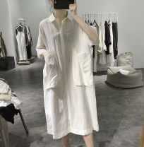 Dress Summer 2020 White black blue gray Average size Mid length dress singleton  elbow sleeve commute Polo collar Loose waist Single breasted raglan sleeve 25-29 years old Type H Lalm Simplicity Pocket button L65630 More than 95% other Other 100%