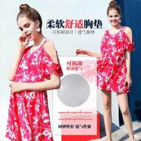 one piece  Suitable for skin 2XL - [100kg-135kg], 3XL - [135kg-155kg], 4XL - [155kg-175kg] Rose red Skirt one piece With chest pad without steel support Spandex, polyester YF9089 female Short sleeve Casual swimsuit