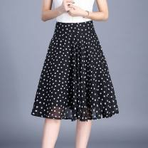 skirt Summer 2015 One size elastic waist (80-150kg) Middle-skirt commute High waist A-line skirt character T-type 40-49 years old - 31% (inclusive) - 50% (inclusive) Chiffon polyester fiber printing 81g / m ^ 2 (including) - 100g / m ^ 2 (including)