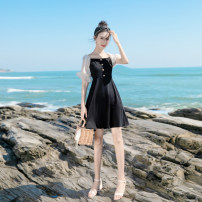 Dress Summer 2021 black Short skirt singleton  Short sleeve commute square neck High waist Solid color zipper A-line skirt bishop sleeve Others 18-24 years old Type A Can be set Korean version Button More than 95% Chiffon other Other 100% Exclusive payment of tmall