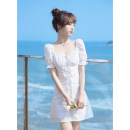 Dress Summer 2021 white [can be set] original brand non market currency XS S M L XL Short skirt singleton  Short sleeve commute square neck High waist Solid color zipper A-line skirt puff sleeve Others 18-24 years old Type A Can be set Korean version Bow tie with cut-out lace 21LY054 More than 95%