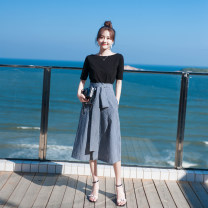 Fashion suit Summer 2021 Black + stripe 18-25 years old Can be set 96% and above Other 100%