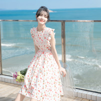 Dress Summer 2021 Broken flowers XS S M L XL original brand non market currency Middle-skirt singleton  Sleeveless Sweet Crew neck High waist Decor zipper Big swing Flying sleeve Others 18-24 years old Type A Can be set More than 95% Chiffon other Other 100% Mori