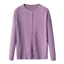 Middle aged and old women's wear Winter 2019, spring 2019, autumn 2019 Green, apricot, grey, black, pink, lavender XL suggests 90-105 kg, 2XL 105-120 kg, 3XL 120-130 kg, 4XL 130-140 kg commute Knitwear / cardigan easy singleton  50-59 years old Cardigan thin V-neck routine routine Single breasted