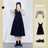Women's large Autumn 2020 Yellow [top], black [strap skirt] M, l, XL, 2XL, 3XL, 4XL Dress Two piece set commute easy Socket Korean version One word collar other Three dimensional cutting bishop sleeve Pomelo size 2156 Other 18-24 years old Button 81% (inclusive) - 90% (inclusive) Medium length straps