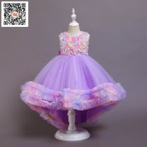 Dress Violet, sky blue, pink female Other / other 110cm,120cm,130cm,140cm,150cm Polyester 75% other 25% No season Europe and America Skirt / vest Solid color Cotton blended fabric Irregular Four, five, six, seven, eight, nine, ten