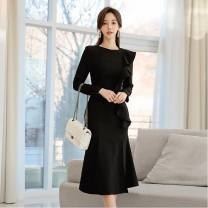 Dress Spring 2021 black S,M,L,XL longuette singleton  Long sleeves commute Crew neck middle-waisted Solid color zipper Ruffle Skirt other Others 18-24 years old Collage / stitching 889282GD567 51% (inclusive) - 70% (inclusive) other hemp