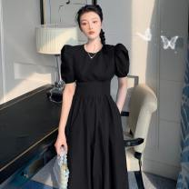 Dress Summer 2020 Black, light water blue M,L,S longuette singleton  Short sleeve commute Crew neck High waist Solid color Socket A-line skirt puff sleeve Others 18-24 years old Type A 31% (inclusive) - 50% (inclusive) polyester fiber