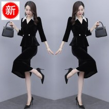 Dress Autumn 2020 Picture color S,M,L,XL,XXL Two piece set three quarter sleeve commute Polo collar High waist Solid color Socket One pace skirt routine Others 25-29 years old Type A Other / other Korean version Pockets, stitching, buttons, lace YLS20C2152 other other