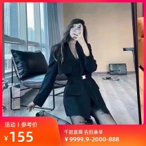 suit Spring 2021 black S,M,L,XL Long sleeves routine Straight cylinder tailored collar Single breasted commute routine Solid color A6BAB2A01 25-29 years old 91% (inclusive) - 95% (inclusive) other Peacebird