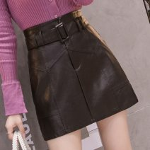 skirt Autumn 2020 2XL,XL,L,M,S 7123 black (belt) Short skirt commute High waist A-line skirt Solid color Type A 25-29 years old other other Stitching, zipper, lace up Korean version