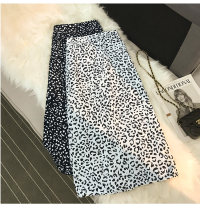 skirt Summer 2017 S,M,L,XL White, black Mid length dress Versatile High waist A-line skirt Leopard Print Type A 18-24 years old 51% (inclusive) - 70% (inclusive) other other printing