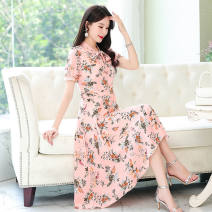 Dress Summer 2021 Pink M recommendation [80-100], l recommendation [100-115], XL recommendation [110-125], 2XL recommendation [125-135], 3XL recommendation [135-145], 4XL recommendation [145-160] singleton  Short sleeve Crew neck Socket routine Type A Other / other 1003,1002,1001 30% and below