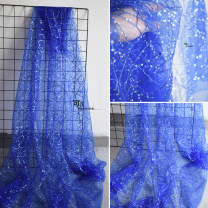 Fabric / fabric / handmade DIY fabric Netting Blue yarn Sequin (half meter price, multi shot, no cutting), blue yarn Sequin sample (11 * 11cm size) Loose shear rice Solid color printing and dyeing clothing Europe and America