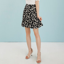 skirt Summer 2020 S M L black Short skirt commute Natural waist A-line skirt Decor Type A 25-29 years old More than 95% Chiffon Mi Chu's Diary polyester fiber printing Korean version Polyester 100% Exclusive payment of tmall