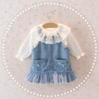 Dress Blue skirt + shirt, off white dot shirt, skirt, strap skirt female Other / other 80cm,90cm,100cm,110cm,120cm,130cm Other 100% Solid color A-line skirt 3 months