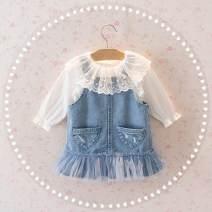 Dress Blue skirt + shirt, off white dot shirt, skirt, strap skirt female Other / other 80cm,90cm,100cm,110cm,120cm,130cm Other 100% Solid color A-line skirt 3 months