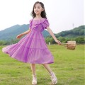 Dress B73 dream purple [quality assurance], u42 thermal orange [quality assurance], j83 peacock blue [quality assurance] female Other / other Cotton 100% summer princess Short sleeve Solid color cotton A-line skirt D64827 2 years old Chinese Mainland