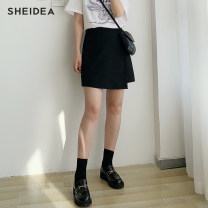 skirt Summer 2020 S,M,L,XL black Short skirt commute High waist Suit skirt Solid color Type A 18-24 years old 71% (inclusive) - 80% (inclusive) other cotton