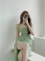 Dress Summer 2021 Green Zou Ju suspender dress S,M,L Mid length dress singleton  Sleeveless commute V-neck High waist Broken flowers Socket other other camisole 18-24 years old Other / other Korean version Lace up, open back, print A8032# Chiffon