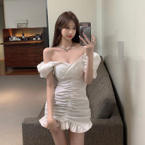 Dress Spring 2021 White, black Average size Short skirt singleton  Short sleeve commute V-neck High waist Solid color Socket Ruffle Skirt puff sleeve Others 18-24 years old Other / other Korean version 6073# 51% (inclusive) - 70% (inclusive)