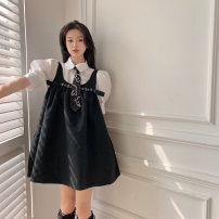 Dress Spring 2021 Shirt with tie, black suspender skirt, apricot suspender skirt Average size Short skirt singleton  Sleeveless commute square neck Loose waist Solid color Socket Princess Dress other straps 18-24 years old Type A Other / other Korean version Inlaid diamond, strap 9316# other other
