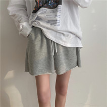 Casual pants Gray, white, black S,M,L Spring 2021 shorts Wide leg pants High waist commute routine 18-24 years old Other / other Korean version Bandage