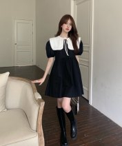 Dress Summer 2021 Black dress, white shawl Average size Short skirt singleton  Short sleeve commute Crew neck High waist Solid color Socket other puff sleeve Others 18-24 years old Other / other Korean version